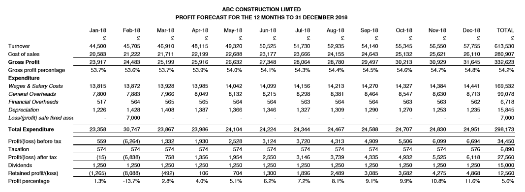 abc construction profit and loss forecast report